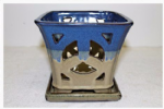Orchid Pot, Square, 19cm, Blue/Beige, Glazed, Saucer